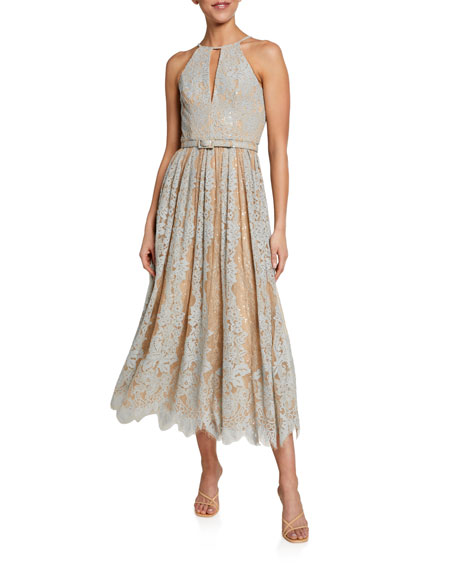 Badgley Mischka Collection Sequin Lace Racer Halter Dress