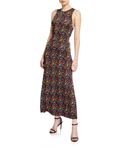 Tanya Taylor Octavia Printed Tie-Back Long Dress