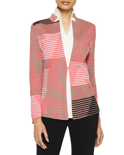 Geo Pattern Ottoman Knit Jacket