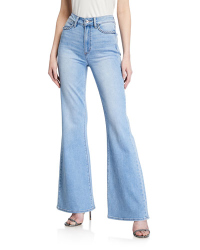 Genevieve High-Rise Flare Jeans w/ Braided Trim
