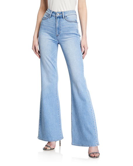 PAIGE Genevieve High-Rise Flare Jeans w/ Braided Trim