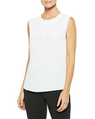 Plus Size Pearl Trim Sleeveless Crepe De Chine Blouse