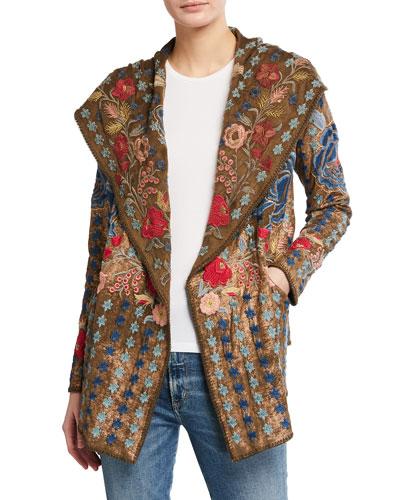 Honig Metallic Floral Embroidered Cotton Hoodie