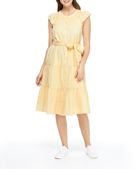 Gal Meets Glam Collection Clip Dot Flutter-Sleeve Tiered Dress