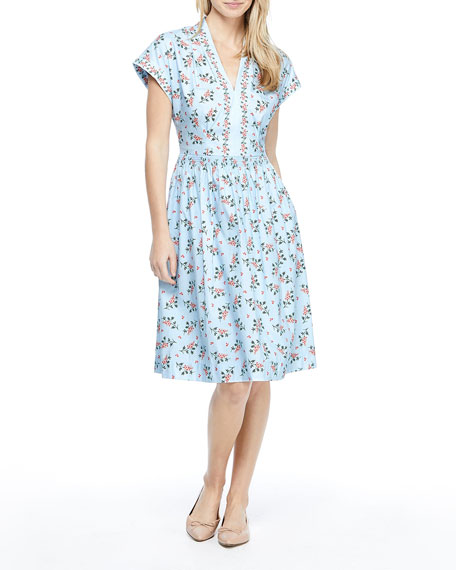 Gal Meets Glam Collection Floral Print V-Neck Shirred Dress