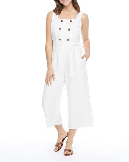 Gal Meets Glam Collection Double Breasted Sleeveless Jumpsuit