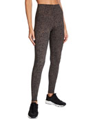 Alo Yoga Vapor High-Waist Leopard-Print Leggings and Matching