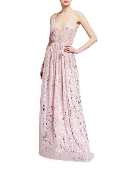 Love, Theia Sleeveless Foil Print Chiffon Gown