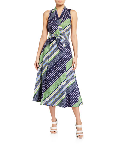 Overprinted Sleeveless Wrap Dress