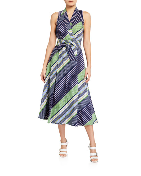 Tory Burch Overprinted Sleeveless Wrap Dress