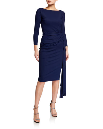 Boat-Neck Sheath Dress with Draped Waistline