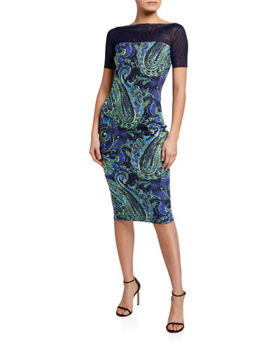 Boat-Neck Paisley Mesh Illusion Sheath Dress