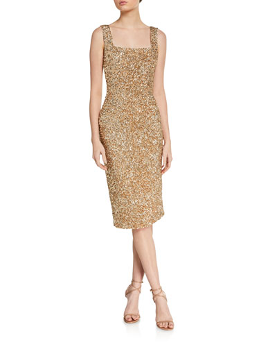Helen Sequined Fitted Square-Neck Dress