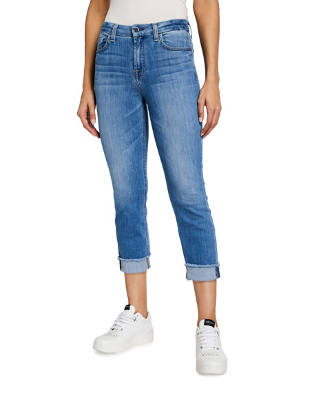 Jen7 by 7 for All Mankind Mid-Rise Cropped Cuffed Skinny Jeans
