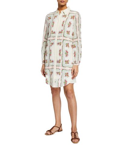 Cora Floral Button-Front Silk Dress