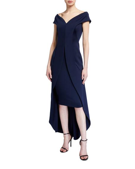 Black Halo Anderson Off-the-Shoulder High-Low Neoprene Dress