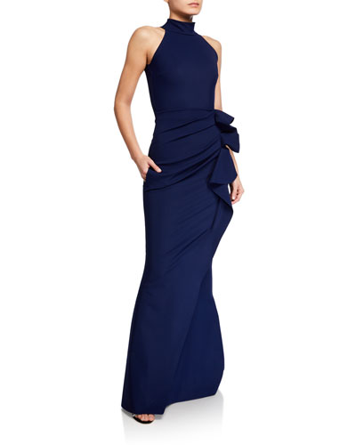 Side Ruched Halter Gown with Asymmetric Ruffle