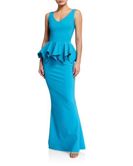 Chiara Boni La Petite Robe V-Neck Sleeveless Jersey Peplum Gown