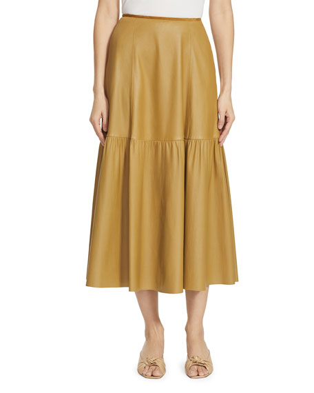 Lafayette 148 New York Safford Tiered Leather Skirt