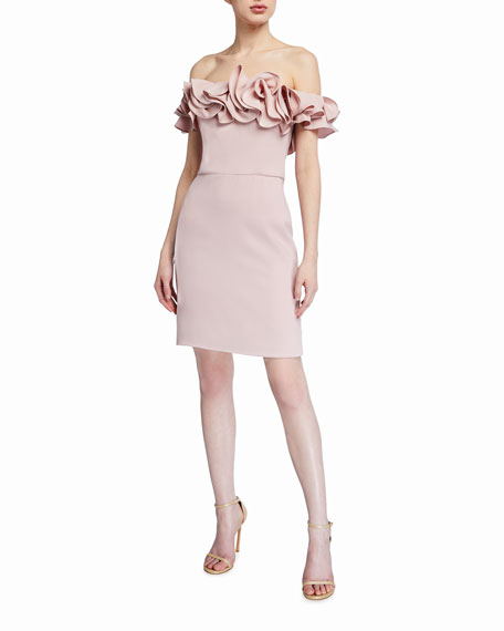 Love, Theia Ruffle Off-the-Shoulder Crepe Cocktail Dress
