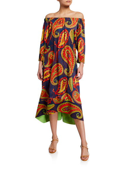 Chiara Boni La Petite Robe Off-The-Shoulder Paisley Printed Caftan Dress