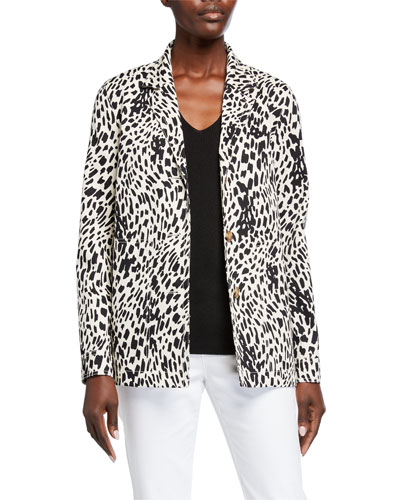 Plus Size Coleman Cheetah-Print Twill Jacket