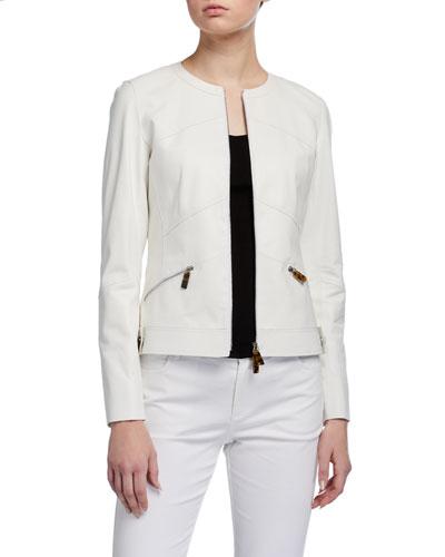 Plus Size Adeline Glove Lambskin Zip-Front Jacket