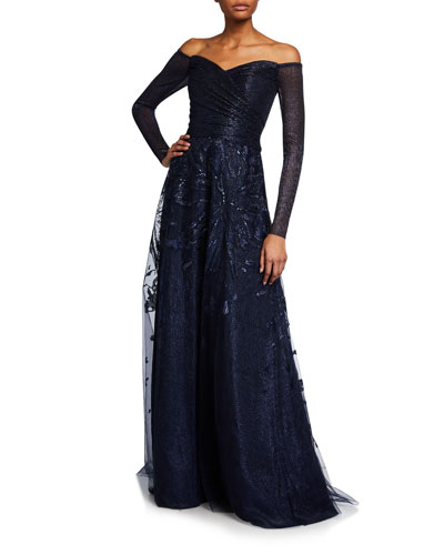 Off-the-Shoulder Long-Sleeve Embroidered Gown