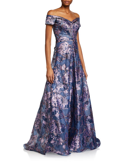 Rene Ruiz Off-the-Shoulder Brocade A-Line Gown