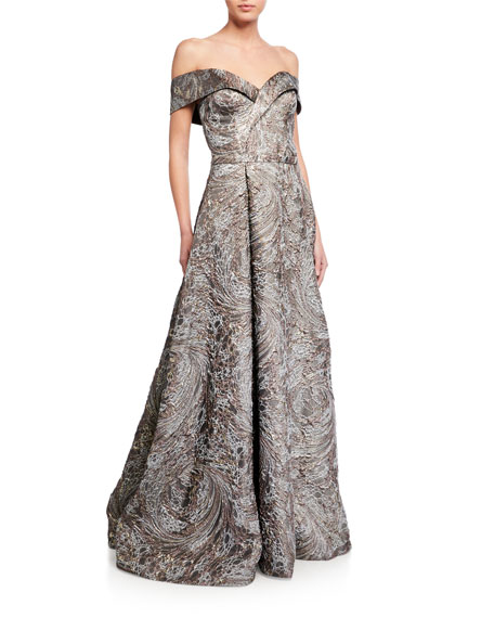 Rene Ruiz Cuffed Off-the-Shoulder Brocade Gown
