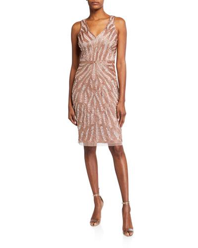 Beaded V-Neck Sleeveless Dress