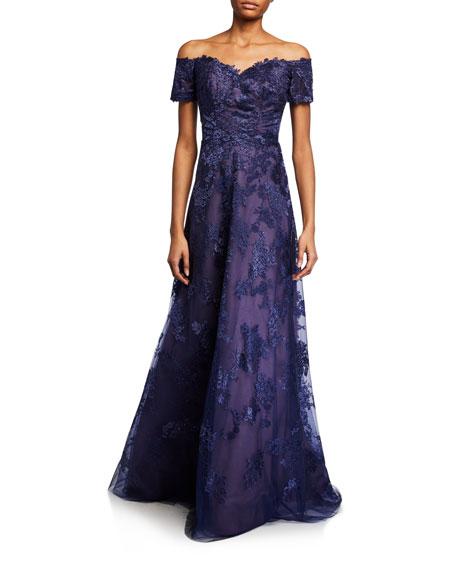 Rene Ruiz Off-the-Shoulder Sweetheart Short-Sleeve Metallic Lace Gown