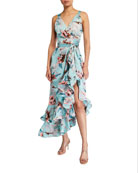 Bronx and Banco Georgia Floral-Print Midi Ruffle Dress