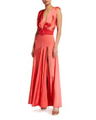 Bronx and Banco Carmen Belted Satin Maxi Gown