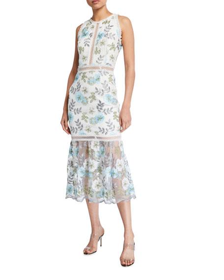 Bronx and Banco Penelope Floral Print Lace-Trim Sleeveless Midi Dress