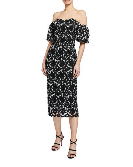 Shoshanna Sentido Floral Lace Off-Shoulder Dress