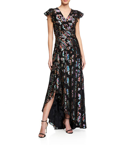 Medianoche Floral Metallic High-Low Dress