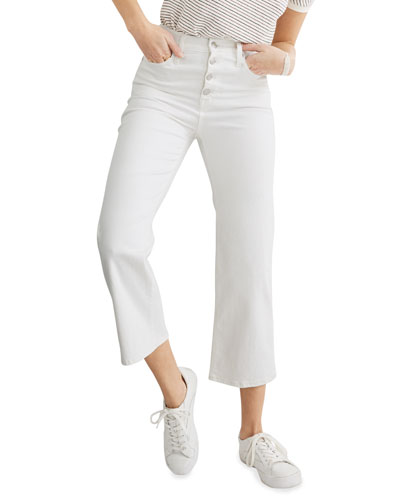 Slim Wide-Leg Cropped Jeans w/ Button Front