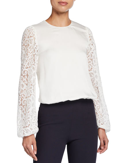 Cami NYC The Effy Lace-Sleeve Silk Top