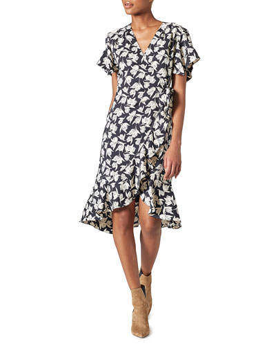 Amelian Floral Short-Sleeve Wrap Dress