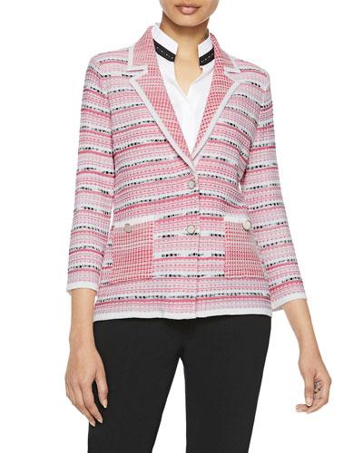 Contrast Pattern Two-Button Knit Blazer