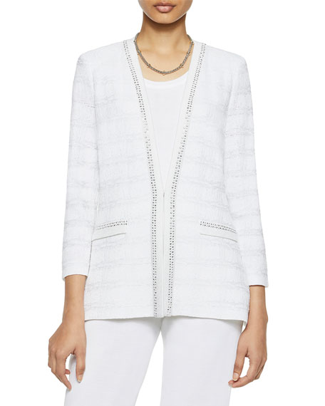 Misook Silver Trim Check Knit Jacket