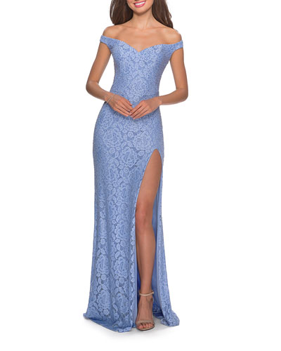 Off-the-Shoulder Rhinestone Embellished Lace Gown