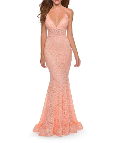 Deep V-Neck Strappy Lace-Up Back Lace Mermaid Gown