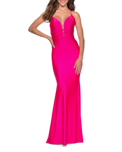 Banded Bodice Strappy Back Jersey Gown