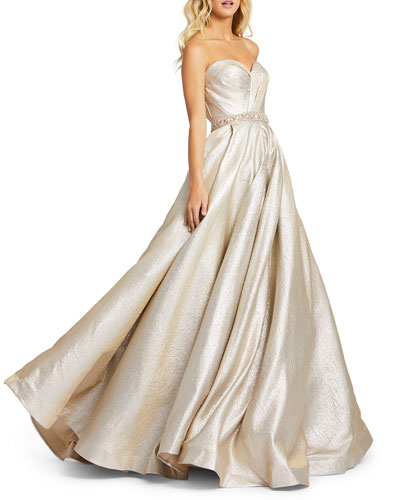Pleated Strapless Gown Neiman Marcus