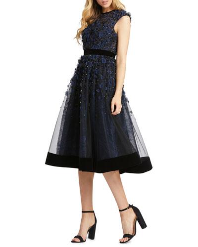 Floral Applique Tea-Length Velvet-Trim Dress