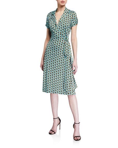 Diane von Furstenberg Grey Silk-Jersey Wrap Dress