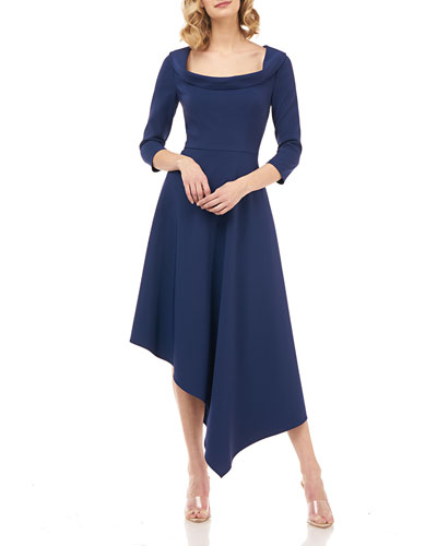 Arianna 3/4-Sleeve Asymmetrical Stretch Crepe Dress