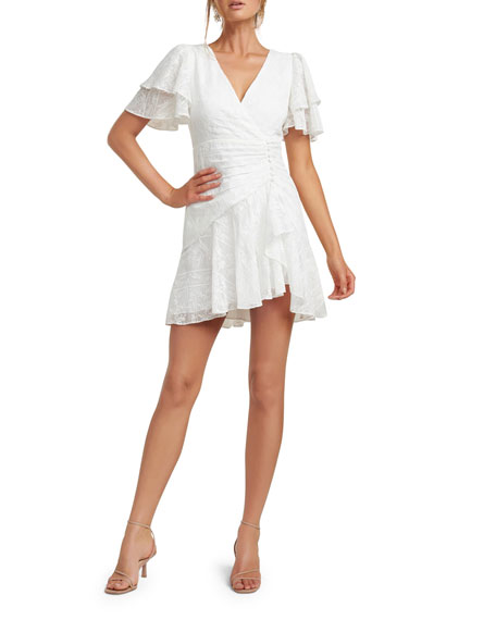 Ever New Embroidered Wing-Sleeve Shirred Mini Dress